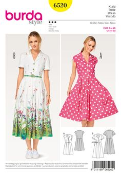 Burda Style Pattern BD6520 Misses' Dress, Blouse and Skirt