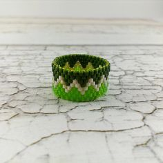 Midi ring Chevron ring Beaded ring Greenery lime Spring