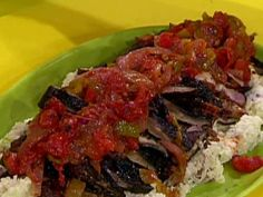 Get Grilled Chicken Thighs Cacciatore with Super Smashed Garlic Potatoes Recipe from Food Network