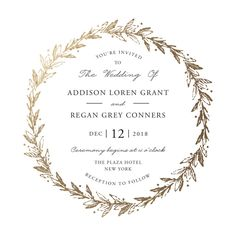 """Winter's Garden"" - Rustic, Floral & Botanical Foil-pressed Wedding Invitations in Gold by Oma N. Ramkhelawan."