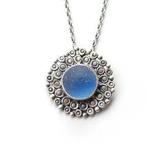 blue mandala sea glass pendant by tania covo | notonthehighstreet.com