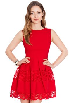 Fit and Flare Mini Dress - Red - Front - Fit And Flare, Dress Red, Celebrity Style, Product Launch, Clothes For Women, Formal Dresses, Celebrities, Mini, Fitness