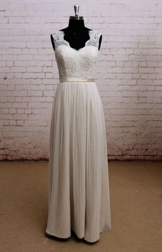 Noble Champagne Wedding dress, Bridal gown, Simple Wedding gown, A-line wedding dress