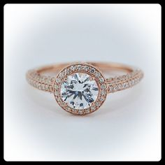 Diamond Halo Engagement Ring Rose Gold Setting by SerenadeDiamonds, $1790.00