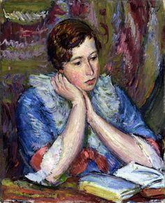Lady with an open book (Ida), 1916.Anton Faistauer (Austrian, 1887-1930). Oil on canvas.