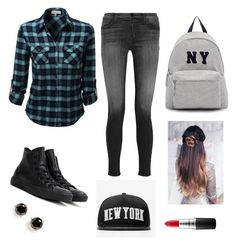 """NY"" by cpflutegirl on Polyvore featuring J Brand, Converse, Joshua's, Stampd, Kate Spade, MAC Cosmetics, women's clothing, women's fashion, women and female"