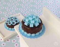 Chocolate cake with blue bow. $14.50, via Etsy.