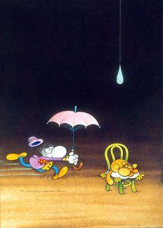 The Exhibition of Cartoon / Mordillo / Argentina :: Cartoon Jokes, Funny Cartoons, Chris Riddell, Satirical Illustrations, Going To Rain, Book Drawing, Humor Grafico, Graphic, Quentin Blake