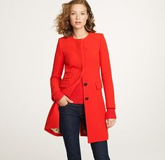 #JCREW double-cloth Symphony coat, $404...I love coats, what can I say?  And everyone needs a perfect red coat!