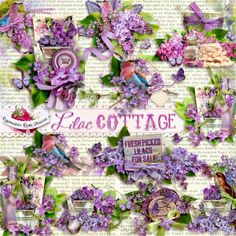 A beautiful set of lilac themed side clusters designed to coordinate with the Lilac Cottage collection from Raspberry Road.