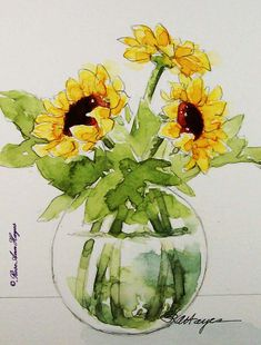 Sunflowers Watercolor Painting Print Flowers by RoseAnnHayes, $18.00