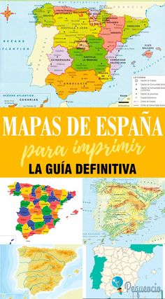 Mapa de España para imprimir Geography Of Spain, Geography Map, Spanish Language Learning, Teaching Spanish, Teaching English, Spanish Activities, Spanish Class, Home Schooling, Social Science