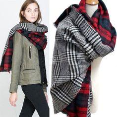 Blanket Oversized Tartan Scarf Wrap Shawl
