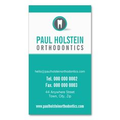 DENTIST APPOINTMENT CARD :: modern tooth logo 2 Business Card Template. I love this design! It is available for customization or ready to buy as is. All you need is to add your business info to this template then place the order. It will ship within 24 hours. Just click the image to make your own!