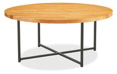 """Classic Cocktail Tables in Natural Steel - Cocktail Tables - Living - Room & Board - $519 - 36"""" - glass is apparently thin and looks a little cheap"""