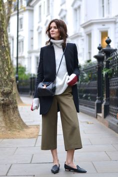 Styling update: Let your sleeves hang loose. Avoid uncontained liquids. Shop this look: Chloe Iconic Cashmere Turtleneck, $1,395;  Erika Cavallini 'Florence' Culottes, $171;  Helmut Lang Button-Tab Long Blazer, $266Northern Light
