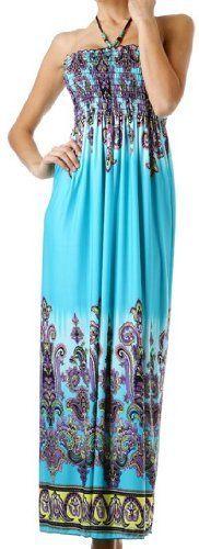 Beaded Halter Smocked Bodice Maxi / Long Dress: Clothing