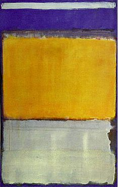 Mark Rothko, No. 10,1950. Oil on canvas, 229.2 x 146.4 cm (90 1/4 x 57 5/8), The Museum of Modern Art, New York, Gift of Philip Johnson, 1952, © 1998, The Museum of Modern Art, New York    By 1950 Rothko had reduced the number of floating rectangles to two, three, or four and aligned them vertically against a colored ground, arriving at his signature style.