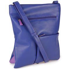 Flap Leather Messenger Backpack - Sweet-Violet