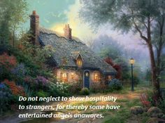 Hebrews 13:2 - art by Thomas Kinkade.