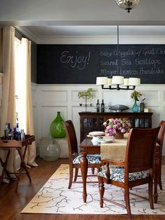 Chalkboard Paint above wainscoting in Dining Room