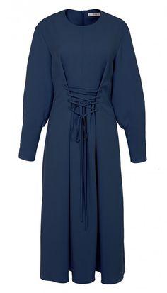 Drape Twill Lace Up Corset Dress