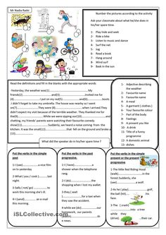 this worksheet consolidates vocabulary related to spare time activities as well as grammar:the past progressive tense and the simple past. English Language Learning, English Grammar, Teaching English, Learn English, Language Arts, English Activities, Teaching Activities, Grammar Sentences, Grammar Book