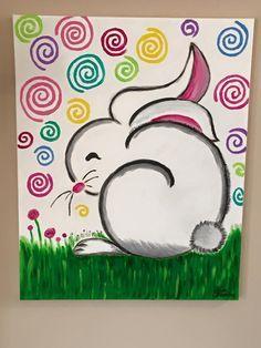 Acrylic Painting on Canvas by Lisa Fontaine. Bunny. Rabbit. Easter Bunny. Whimsical. Nursery.