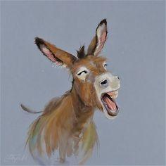 Wildlife Paintings, Animal Paintings, Mini Paintings, Cute Animal Drawings, Cute Drawings, Donkey Drawing, Cute Donkey, Farm Art, Watercolor Bird