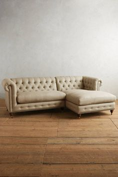 Anthropologie Linen Lyre Chesterfield Right Sectional, Hickory