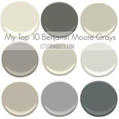 My Top 10 Benjamin Moore Grays - City Farmhouse Great paints for gray pallette Interior Paint Colors, Paint Colors For Home, Paint Colours, Top Gray Paint Colors, Interior Painting, Interior Design, Wall Colors, House Colors, Accent Colors