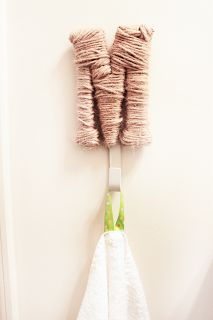 Use ribbon to make a loop for hanging kids towels from hooks (at kid's level)