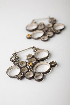"""Condensation Earring with Yellow Topaz"" Silver Stone Earrings Created by Monique Rancourt"