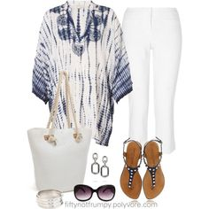 """""""Navy and White"""" by fiftynotfrumpy 60 Fashion, Autumn Fashion, Fashion Looks, Fashion Outfits, Beach Fashion, Summer Outfits, Casual Outfits, Cute Outfits, Xl Mode"""