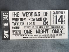 Wedding Event Ticket Template Printable  Wedding Concert Ticket
