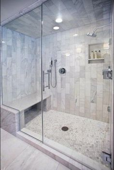 Bathroom decor for the master bathroom renovation. Learn master bathroom organization, master bathroom decor tips, bathroom tile ideas, bathroom paint colors, and more. Shower Tile Designs, Steam Showers Bathroom, Bathroom Shower Remodel, Glass Showers, Steam Room Shower, Tile Showers, Marble Showers, Shower Tiles, Bath Remodel