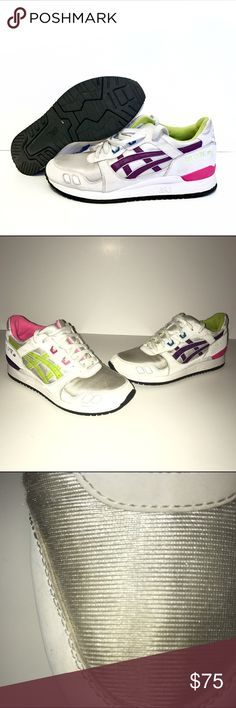 9 1/2 Asics Womens Gel-Lyte III white/purple One of a kind !! These Asics are a size 9.5 women. So I believe it's about a 8-8.5 in men. EURO 41 NOT 39.5 like listed on here. First off, these shoes need a little love on the toe (Left Front) , as shown above and the little cut on the side (Right Front Shoe). The bottoms of the shoe are brand new looking as shown above. No box , no receipt & willing to negotiate. Price will be firm once bidding starts on my Ebay in a week from 1/15/17 Thanks…