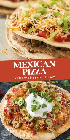 Skip the drive thru and make Mexican Pizza at home, with layers of crispy flour tortilla, seasoned ground beef, refried beans, and your favorite toppings. #mexicanpizza #dinnerideas #homemademexicanpizza Mexican Dishes, Mexican Food Recipes, Ethnic Recipes, Mexican Entrees, Cheesy Recipes, Taco Bell Mexican Pizza, Mexican Sandwich, Taco Pizza, Food Dishes