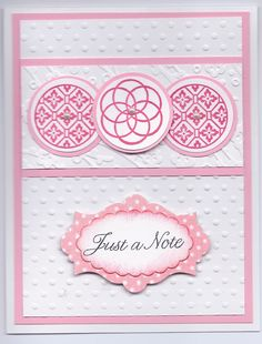 SU Circle Circus stamp set, cuttlebug embossing folders,  Sentiment from Flourishes, SU Apothocary Accents die, SU scalloped oval punch stick on pearls, pink, polka dot paper from Bearly Mine Designs,  Card layout by http://images.splitcoaststampers.com/data/gallery/17298/2009/12/11/IMG_1559_by_TrudyW.JPG