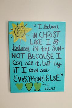 C.S. Lewis Handpainted Quote on Canvas by FaithLoveCraft on Etsy, $15.00