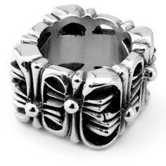 "EnM Jewelry Men's Super Wide Stainless Steel Ring Square Openwork Cross, Silver/Black Biker, 1/2"" Wide 8"