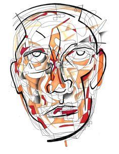 """Non-Euclidean Head Study"" - Ink on paper. #art #fineart #noneuclideangeometry #scienceart #artscience #torontoart #arttoronto - website: www.bentleyartist.com - email: human8128@hotmail.com Euclidean Geometry, Art Toronto, Theoretical Physics, Science Art, Paper Art, Study, Ink, Fine Art, Website"