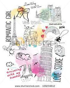 illustration sketch watercolor fashion shopping set - stock vector