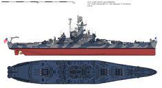 USS South Dakota (BB-57) battleship, Measured 12 Modified 1945. (google.image) 02.18 Uss Massachusetts, Us Battleships, Heavy And Light, Alternate History, United States Navy, Navy Ships, Aircraft Carrier, Us Navy, Warfare