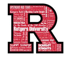 """Original artwork using words to describe """"RUTGERS UNIVERSITY"""" -- Show off your Scarlet Knights pride in your home/dorm room/office with this print that details the many words for all things Scarlet like Upstream Red Team, New Brunswick, Raritan River, and more. Come visit the Lexicon Delight Etsy store!"""