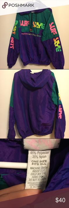 Vintage surf style iridescent windbreaker pullover Vintage amazing 80s surf style interplanetary body gear windbreaker pull over. Half zip. One size fits all. The graphics are starting to peel on the front. This item is still a fantastic find. No holes or rips and looks so cool. Please be aware that this is vintage and the graphics are not 100 percent new. You will still love it though. ❤️ retro , old school , throwback, 1980s. Surf style. Body gear. Vintage Jackets & Coats