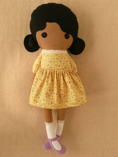Fabric Doll Rag Doll Girl in Calico Dress by rovingovine on Etsy,