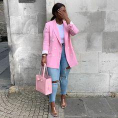Black Women Fashion, Look Fashion, Autumn Fashion, Fashion Outfits, Womens Fashion, Cute Casual Outfits, Casual Chic, Stylish Outfits, Pink Blazer Outfits