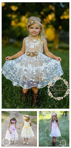 Cute country flower girl dress. Love, love these! And nice price for a handmade dress. The cotton lining and flowers can be burlap color (perfect for a rustic or barn wedding), off white, lavender, yellow, or light pink. These would make adorable birthday or girl's party dresses, too.  #girlspartydress #RusticWedding #FlowerGirlDress #FlowerGirl #CountryWedding