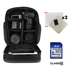 Professional Travel Backpack For Canon EOS 50D 500D 550D Rebel T1i T2i Kiss X3 X4 / 5D Mark II / III   32GB Class 10 SD Card   Screen Protector (x2) -- Click image for more details. (This is an Amazon Affiliate link and I receive a commission for the sales)